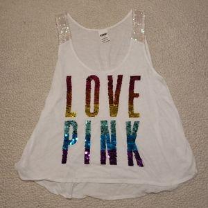 Rainbow Love Pink Tank Top